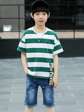 Ericdress Stripe Patchwork T Shirt Pants Boy's Summer Outfits