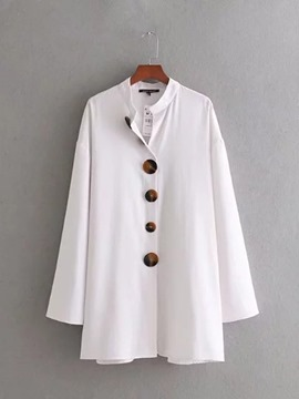 Ericdress Loose Plain Single-Breasted Button Long Sleeve Blouse