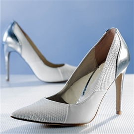 Ericdress White Pointed Toe Stiletto Heel Slip-On Pumps