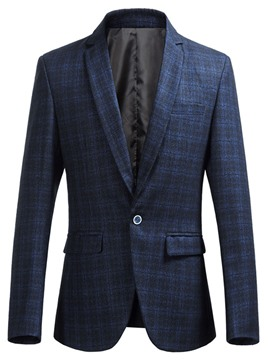 Ericdress Plaid Slim Fit One Button Mens Blazer Jacket