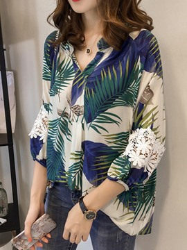 Ericdress Loose Lace Patchwork Plant Print Blouse