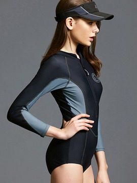 Ericdress Color Block Long Sleeve One Piece Swimwear Monokini