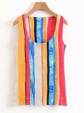 Ericdress Stripe Single Color Block Vest