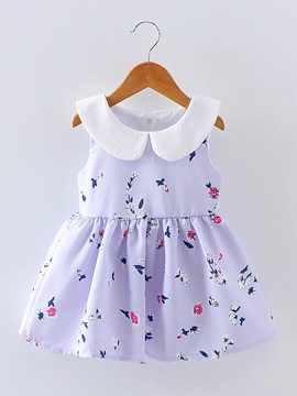 Ericdress Floral Print Bowknot Baby Girl's Sleeveless Casual Dress