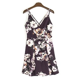 Ericdress Above Knee Black Floral Printing Women's Short Day Dress