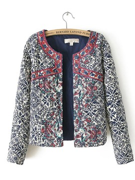 Ericdress Color Block Button Embroidery Long Sleeve Jacket