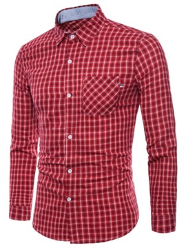 Ericdress Plaid Lapel Loose Mens Cotton Shirt