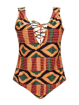 Ericdress Plus Size Geometric Plaid Hollow One Piece Bathing Suits