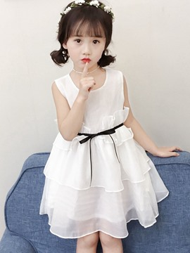 Ericdress Lace Up Stringy Selvedge Bowknot Girl's Sleeveless Princess Dress