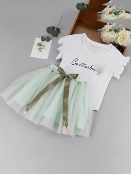 Ericdress Print 3D Bowknot T Shirt & Skirt Girl's Outfits