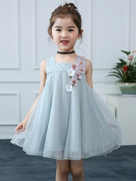 Ericdress 3D Floral Mesh Suspenders Girl's Princess Dress
