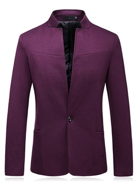 Ericdress Plain One Button Stand Collar Mens Casual Jacket Blazer