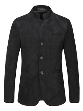 Ericdress Plain Slim Fit Stand Collar Mens Chinese Style Jacket Blazer
