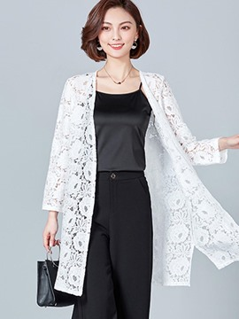 Ericdress Straight Lace Plain Long Sleeves Cape