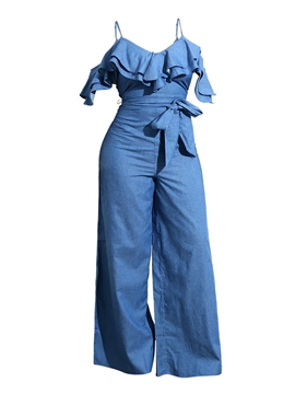 Jumpsuit de mujer ericdress pierna ancha denim