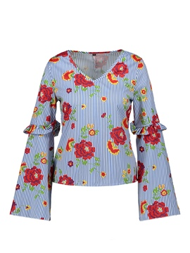 Ericdress V-Neck Floral Print Pullover Flare Sleeve Blouse