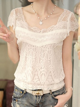 Ericdress Slim Short Sleeve Lace Short Sleeve Blouse