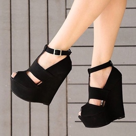 Plain Peep Toe T-Shaped Buckle Wedges