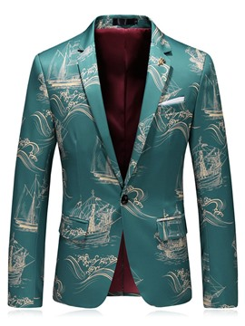 Ericdress Floral Print Slim Fit Notched Lapel Mens One Button Jacket