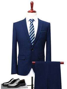 Ericdress Plain Blazer Pants Mens Business Wedding Suits