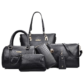 Ericdress Croco-Embossed Solid Color PU Handbag