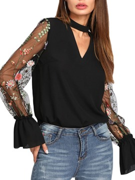 Ericdress Loose V-Neck Embroidery Floral Long Sleeve Blouse