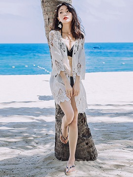 Ericdress Flare Sleeve Hollow See-Through Lace Beach Cover Up