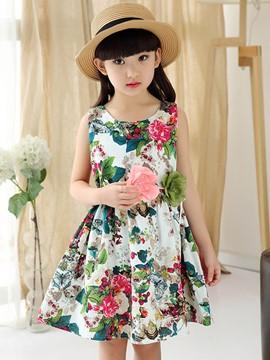vestido casual sin mangas ericdress floral print patchwork