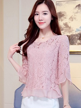 Ericdress Lace Patchwork Double-Layer Ladylike Blouse