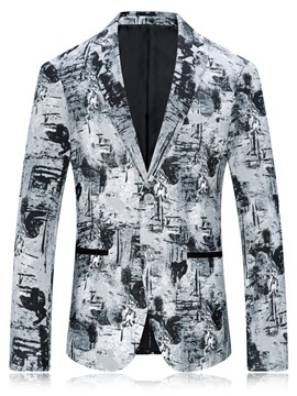 Ericdress Floral Print Slim Two Button Mens Jacket Blazer