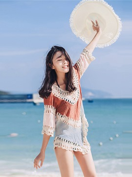 Ericdress Color Block Mid-Length Hollow Pullover Beach Cover Up