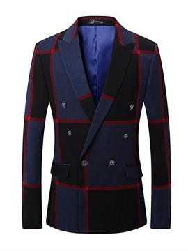 Ericdress Plaid Patchwork Slim Fit Mens Double Breasted Jacket Blazer