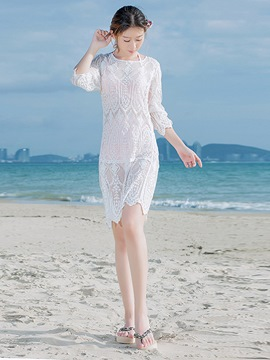 Ericdress White Lace Plain 3/4 Length Sleeves Beach Dress