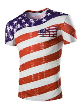 Ericdress American Flag World Cup Designed Mens T Shirt