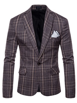 Ericdress Color Block Plaid Loose Mens Jacket Blazer