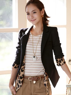 Ericdress Slim Leopard Patchwork Notched Lapel Blazer