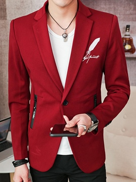 Ericdress Plain Feather Print Mens Slim Jacket Blazer
