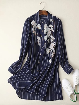 Ericdress Stripe Long Sleeve Shirt Print Women's Day Dress