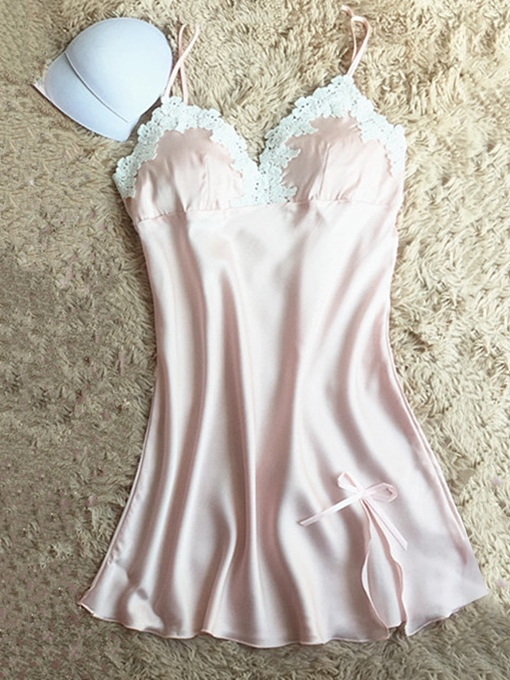 Ericdress Bowknot Lace Above Knee Sleeveless Nightgown