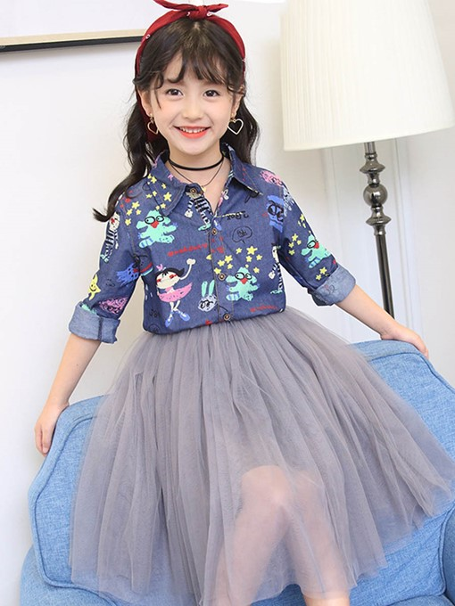 Ericdress Cartoon Print Mesh See-Through Girl's Outfit Shirt Skirt
