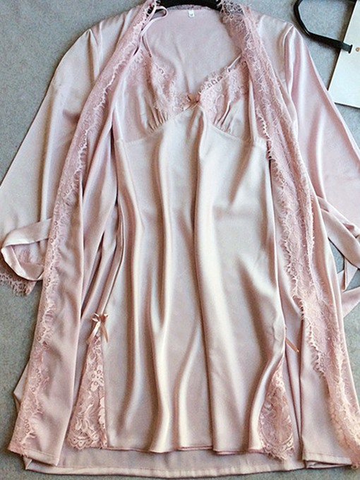 Ericdress Two-piece V-Neck Bowknot Nightdress and Lace-Up Robe