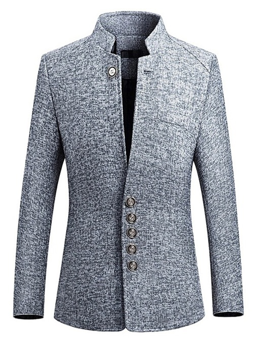 Ericdress Plain Slim Fit Stand Collar Mens Jacket Blazer