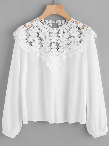 Ericdress Lace Patchwork Scoop Plain Blouse