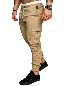 Ericdress Plain Khaki Lace Up Pocket Mens Casual Pants