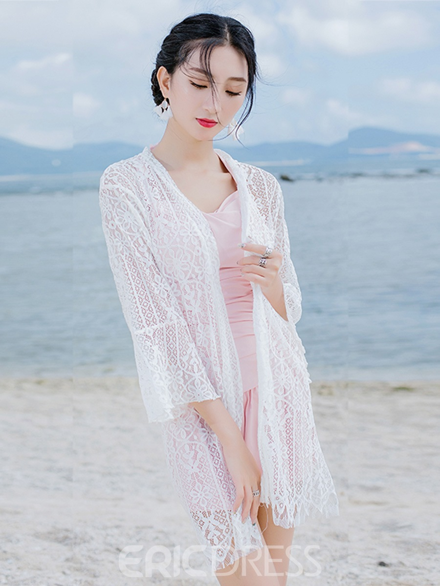 Ericdress Mid-Length Plain See-Through Lace Flare Sleeve Beach Cover Up
