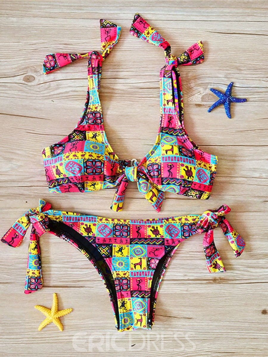 Ericdress Floral Tie Front Bikini Swimsuits