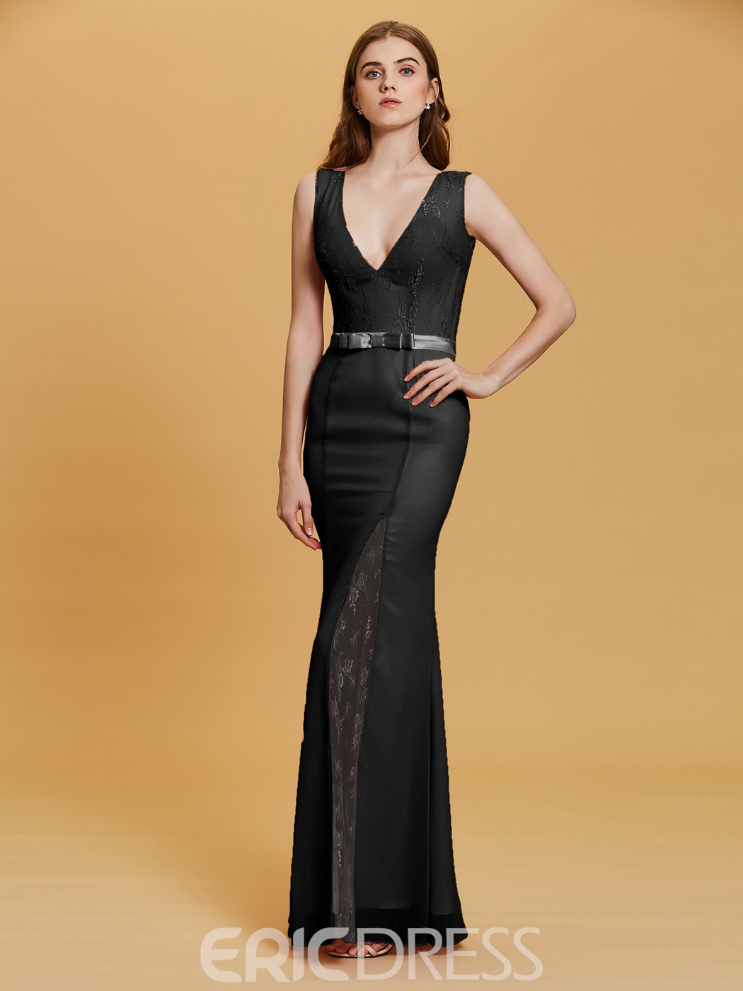 Ericdress V Neck Split-Front Sheath Evening Dress