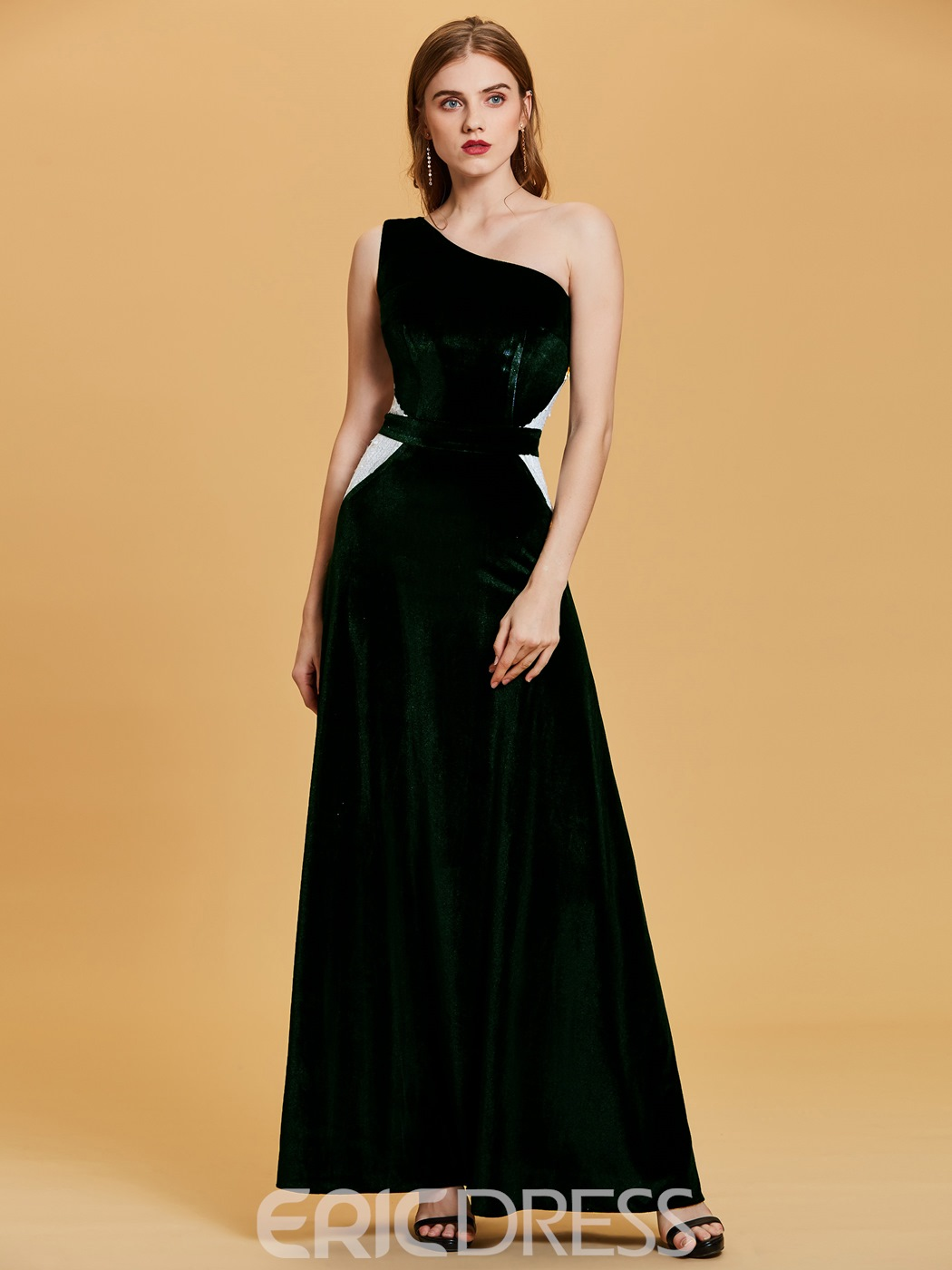 Ericdress One Shoulder Color Contrast Velvet A Line Evening Dress