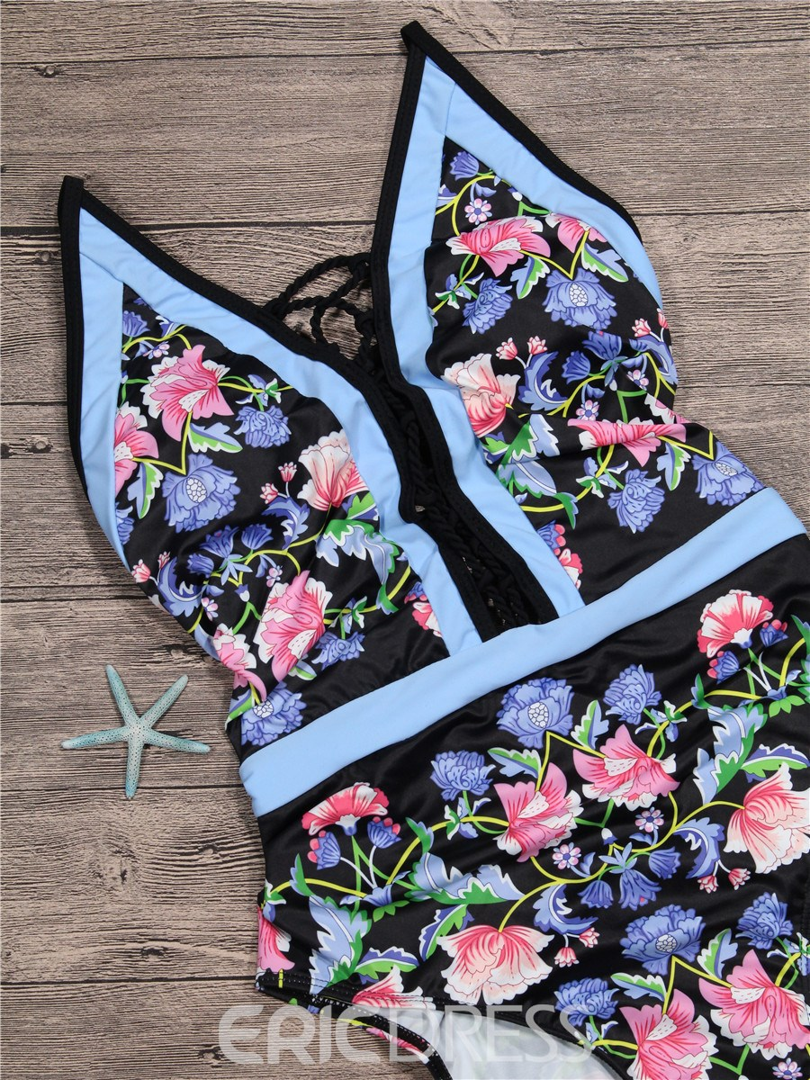Ericdress Halter Floral Hollow Backless One Piece Swimwear Monokini