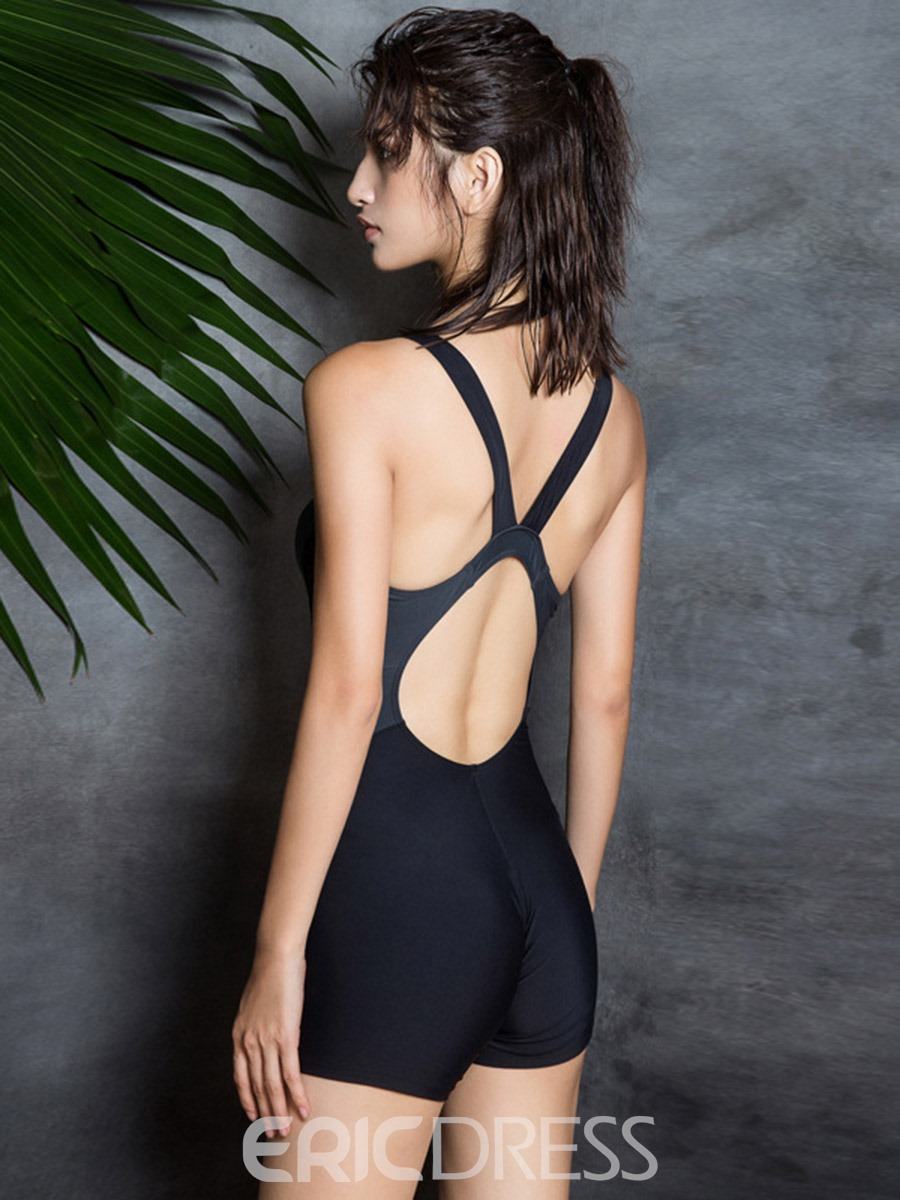 Ericdress Plain Modest Slim One Piece Swimwear Monokini